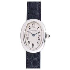 Cartier 18 Kt White Gold Baignoire Model Ladies Wristwatch