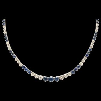 Elegant Contemporary Natural Sapphire and Diamond Line Necklace