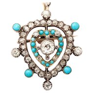 Edwardian Diamond and Turquoise Heart