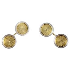 Art Deco Engine Turned Engraved Cufflinks in Gold