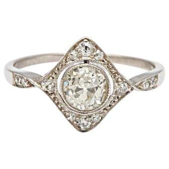 An Unusual Edwardian Diamond and Platinum Ring