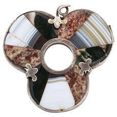 Antique Scottish Shamrock Brooch, Sterling Silver and Agate