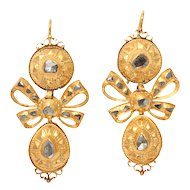 Eighteenth Century 18 kt Gold and Diamond Earrings