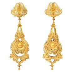 Antique Georgian Filligre Chandelier Earrings