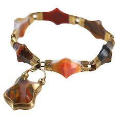 Antique Victorian Gold Scottish Agate Pyramid Bracelet