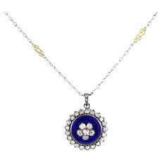 Antique Early Victorian Diamond Forget Me Not Pendant