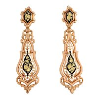 Antique Mid Victorian Gold and Enamel Earrings