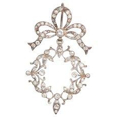 Antique Art Nouveau French Sterling and Paste Pendant