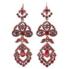 Edwardian Deep Pink Paste Chandelier Earrings