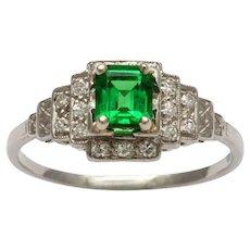 1970's Platinum, Diamond Tsavorite Ring