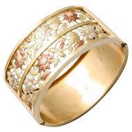 Think Spring:  A Victorian Silver and Gold Gilt Cuff Bracelet