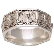 Vintage Sterling Bangle Bracelet:  Sphinxes Galore