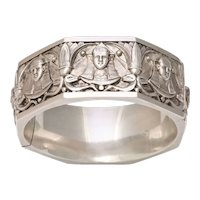 Vintage Sphinxes Galore on An Egyptian Revival Silver Bangle Bracelet