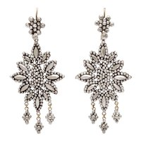 Opulent Georgian Cut Steel Chandelier Earrings