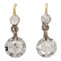 "18kt French Victorian Diamond ""Sleeping"" Earrings"