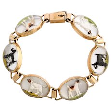 Vintage 1930 Gold and Crystal Bracelet with Scotties and Hounds