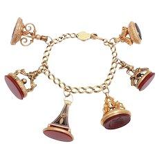 Victorian Gold Six Fob Bracelet