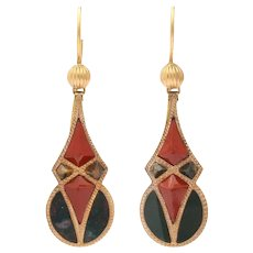 Victorian Period Scottish Agate Earrings in Gold