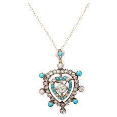 Edwardian Diamond Turquoise Heart Pendant or Brooch