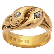 Double Headed Victorian Snake Ring with Diamond Eyes