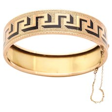 American 14kt Bracelet of Bold Graphic Greek Key Design c. 1870