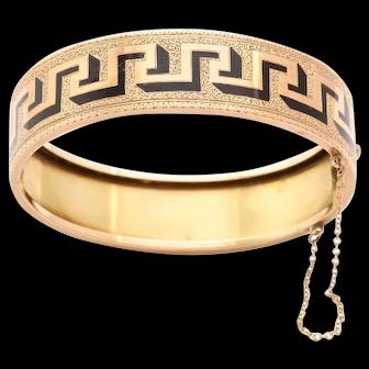 American 14kt Bracelet of Bold Graphic Greek Key Design c. 1870