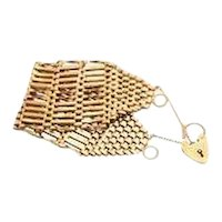 Unusually Wide Edwardian  Bracelet with Heart Padlock