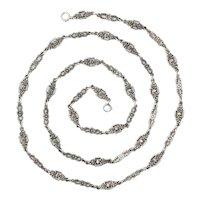 Antique Art Nouveau Silver Floral Chain