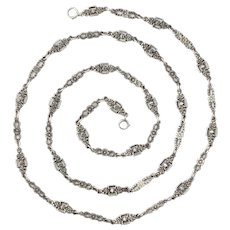 Antique Art Nouveau Silver Floral Chain