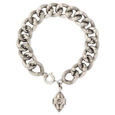 Antique Victorian Sterling Silver Link Charm Bracelet
