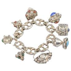 Vintage Silver Chunky Charm Bracelet