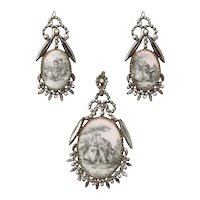 Antique Georgian Cut Steel and Porcelain Pendant and Earrings