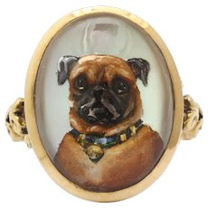 Love is a Pug Victorian Reverse Crystal Canine Intaglio
