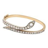 Antique Victorian Diamond Serpent Bracelet with Emerald Eyes