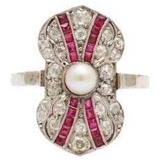 Vintage Art Deco Ruby, Diamond, Pearl Ring