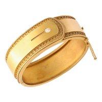 Elegant Victorian Gold Cuff Bracelet Diamond Accent, circa 1870