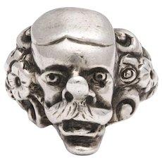 Sterling Silver Unisex Figural Comedia dell' Arte Ring c.1890
