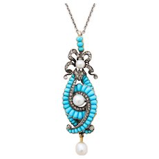 Antique Victorian Turquoise, Diamond, Natural Pearl Necklace