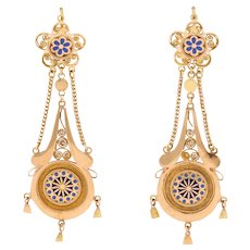 Antique Mid-19th Century French Chandelier Earrings