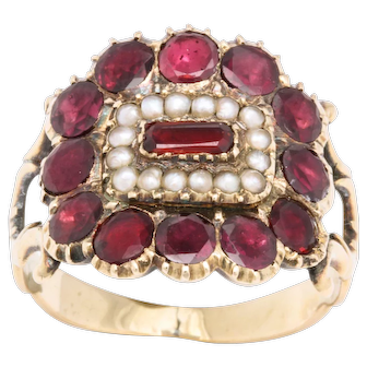 Antique Regency Garnet and Pearl Ring