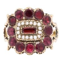 Victorian Regency Garnet and Natural Pearl Ring