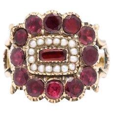 Victorian Regency Garnet and Natural Pearl Ring