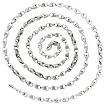 Art Deco Substantial Sterling Silver Long Chain
