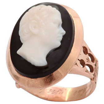 Antique Victorian Bold Cameo Ring of a Poet