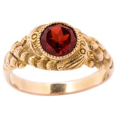 Antique Victorian Double Serpent Ring with Garnet