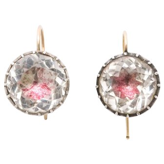 Antique Georgian Foiled Rock Crystal Drop Earrings