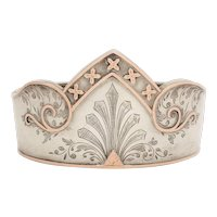 Antique Victorian Sterling Silver and Gold Crown Cuff