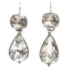 Antique Grand Georgian Rock Crystal Earrings