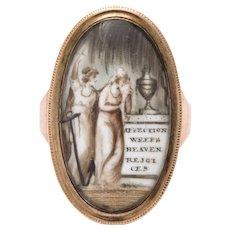 Antique 15kt Georgian Memorial Ring Of Affection