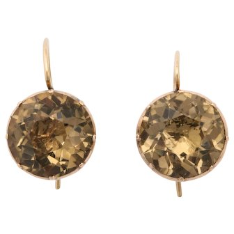 Antique Georgian Gold and Citrine Drop Earrings c.1820